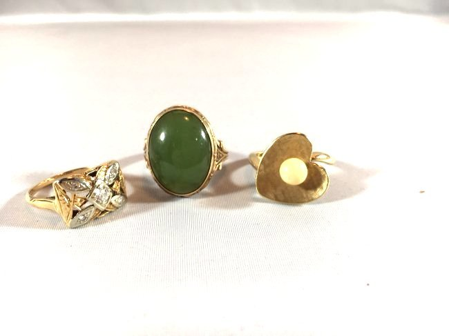 3Ladies Gold Rings: Jade, Pearl, Diamond (6.5-7) - 2