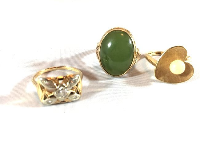 3Ladies Gold Rings: Jade, Pearl, Diamond (6.5-7) - 3
