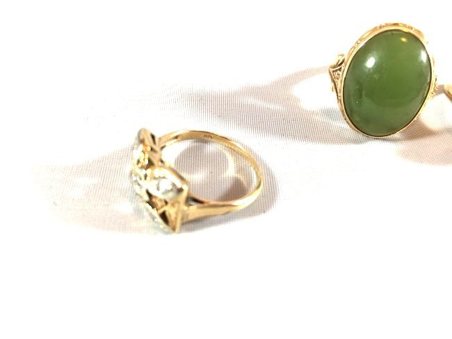 3Ladies Gold Rings: Jade, Pearl, Diamond (6.5-7) - 4