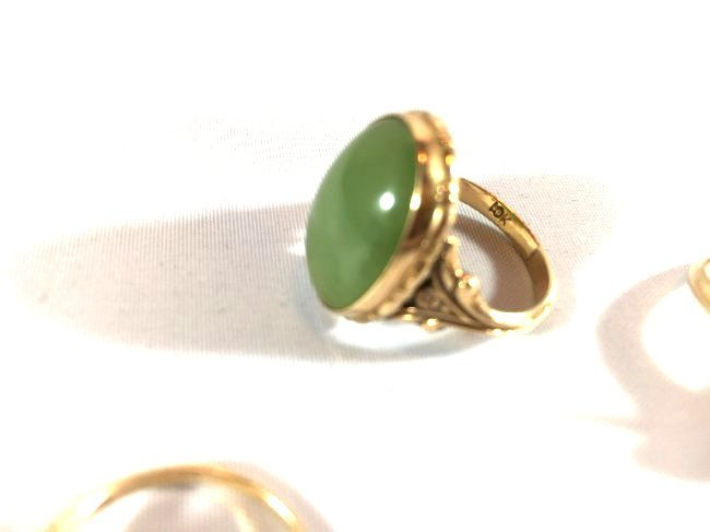 3Ladies Gold Rings: Jade, Pearl, Diamond (6.5-7) - 5