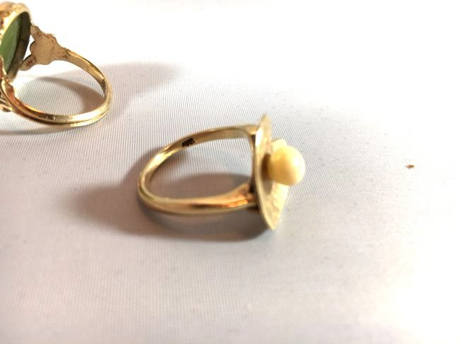 3Ladies Gold Rings: Jade, Pearl, Diamond (6.5-7) - 6
