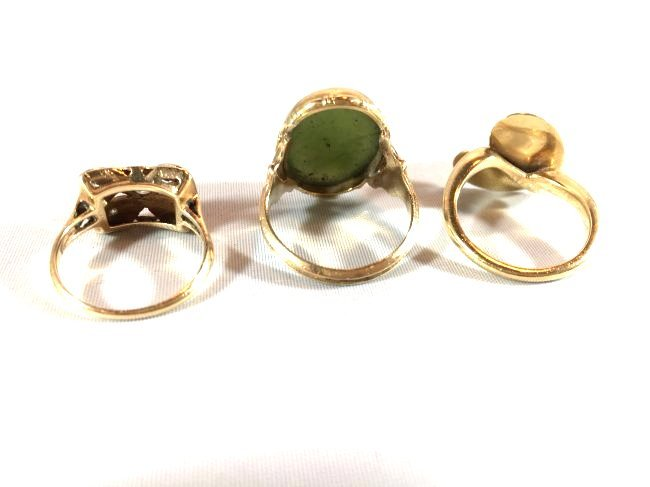 3Ladies Gold Rings: Jade, Pearl, Diamond (6.5-7) - 7
