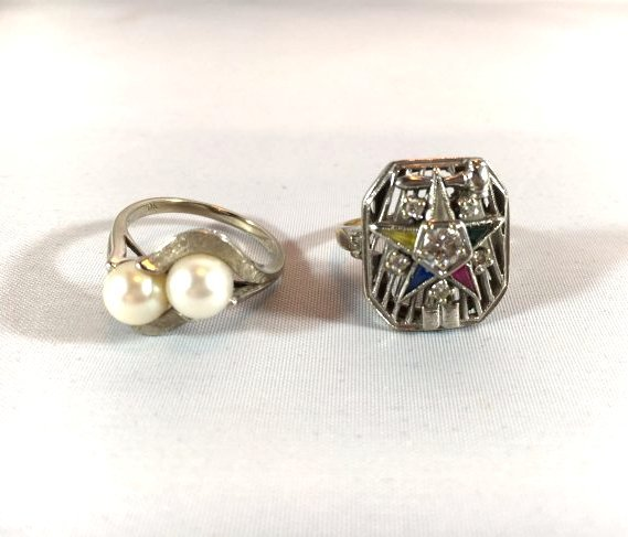 2 Ladies Rings: Masonic Eastern Star & Pearls