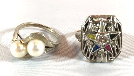 2 Ladies Rings: Masonic Eastern Star & Pearls - 2