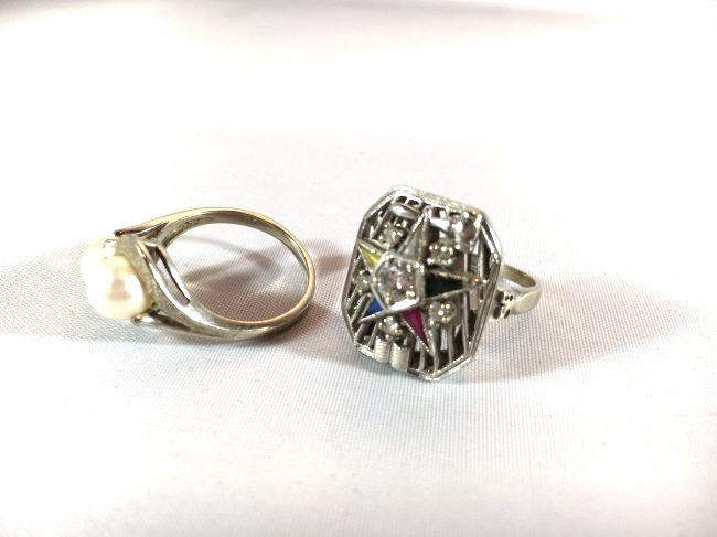 2 Ladies Rings: Masonic Eastern Star & Pearls - 3