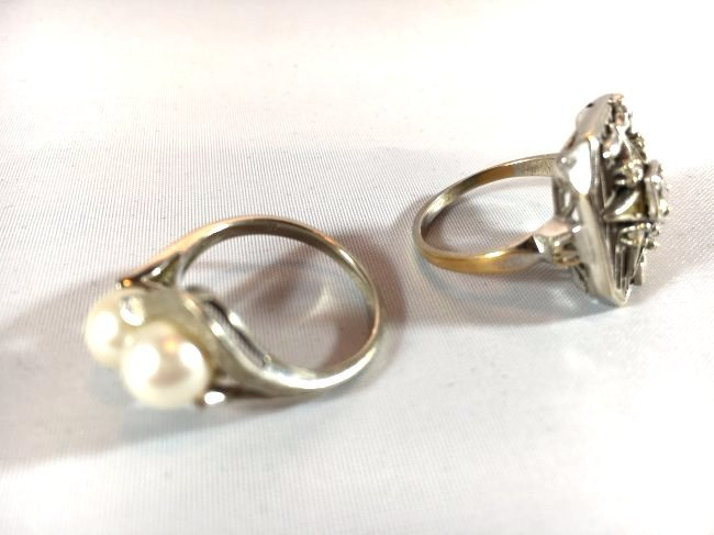 2 Ladies Rings: Masonic Eastern Star & Pearls - 5