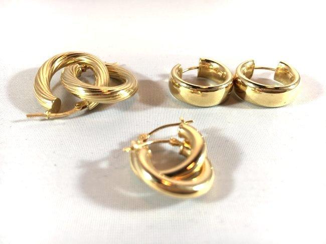3 pr Ladies Splendid Gold Hoop Earrings