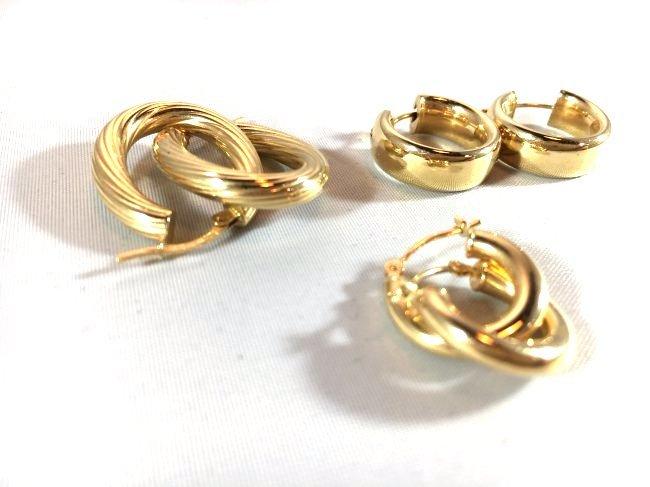 3 pr Ladies Splendid Gold Hoop Earrings - 2