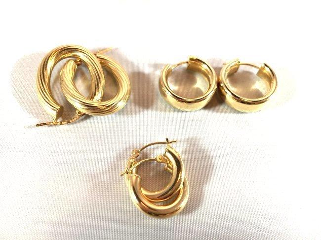 3 pr Ladies Splendid Gold Hoop Earrings - 3