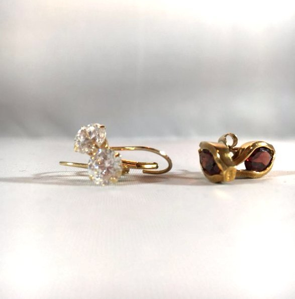 2 pr Garnet Pierced Earrings in 14K Gold - 3