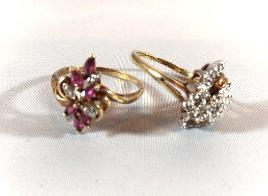 2 Ladies Rings Marquise Ruby Cluster & Pavé Diamond
