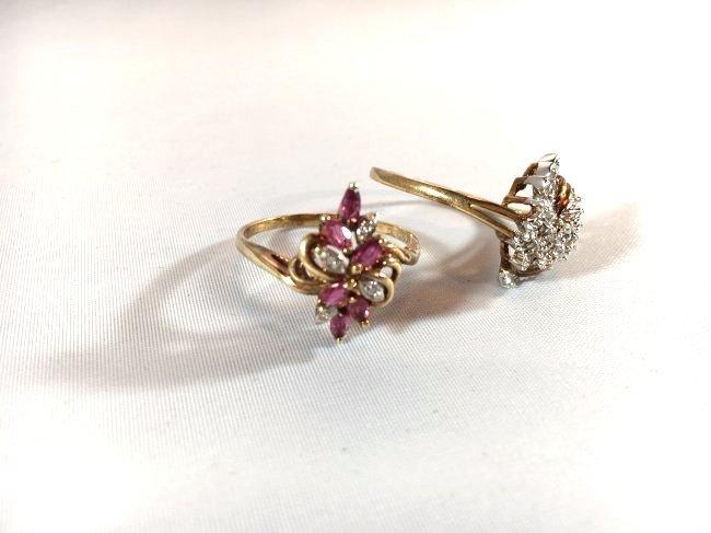 2 Ladies Rings Marquise Ruby Cluster & Pavé Diamond - 2