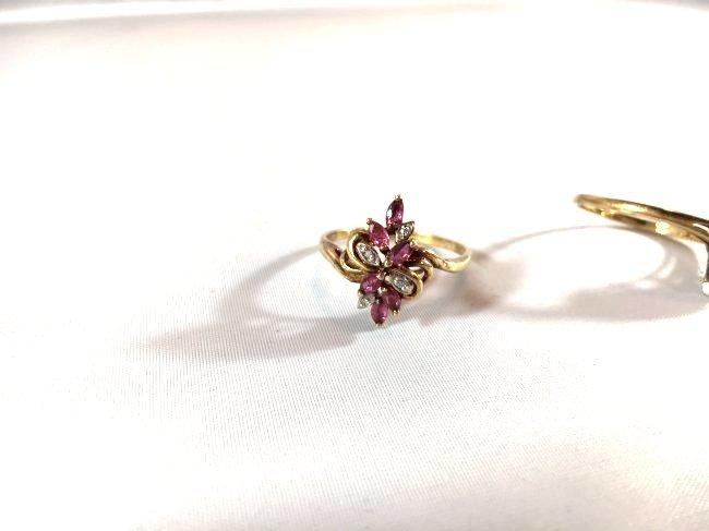 2 Ladies Rings Marquise Ruby Cluster & Pavé Diamond - 3