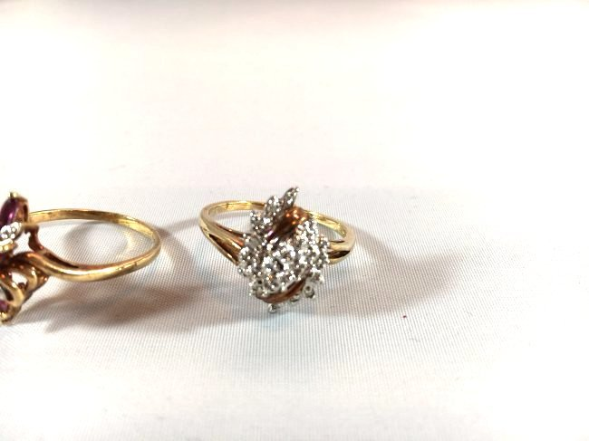 2 Ladies Rings Marquise Ruby Cluster & Pavé Diamond - 4