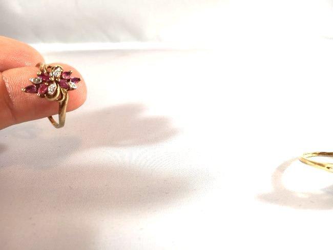 2 Ladies Rings Marquise Ruby Cluster & Pavé Diamond - 6