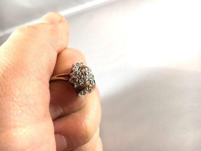 2 Ladies Rings Marquise Ruby Cluster & Pavé Diamond - 7