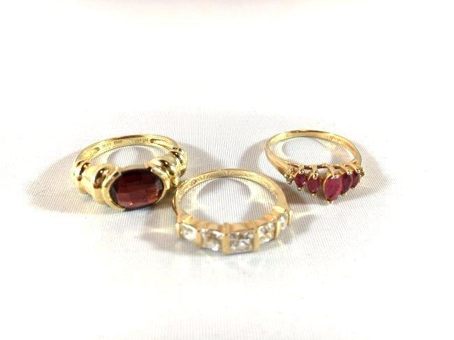 3 Lovely Ladies Rings: Garnet, Ruby, Diamond