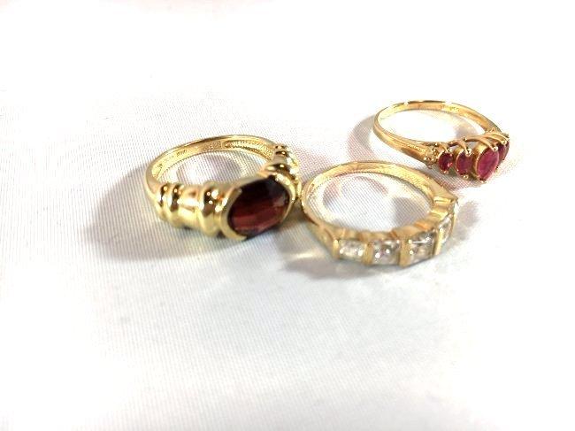 3 Lovely Ladies Rings: Garnet, Ruby, Diamond - 2