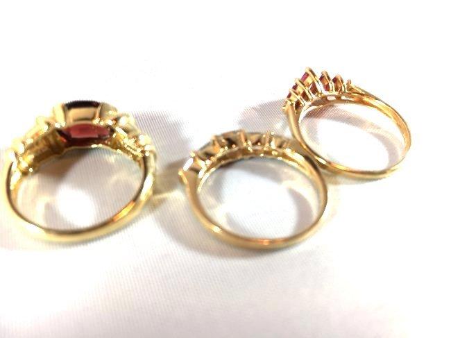 3 Lovely Ladies Rings: Garnet, Ruby, Diamond - 3