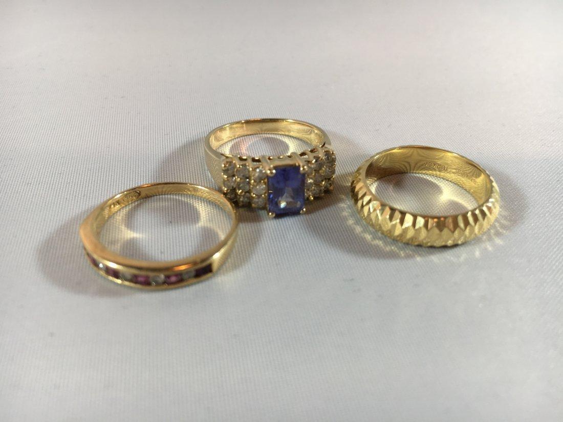 3 Ladies Gold Rings: Sapphire, Ruby, 14K