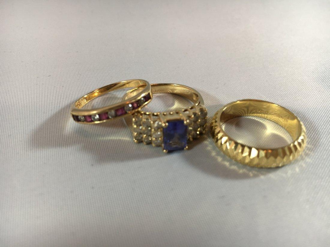3 Ladies Gold Rings: Sapphire, Ruby, 14K - 2