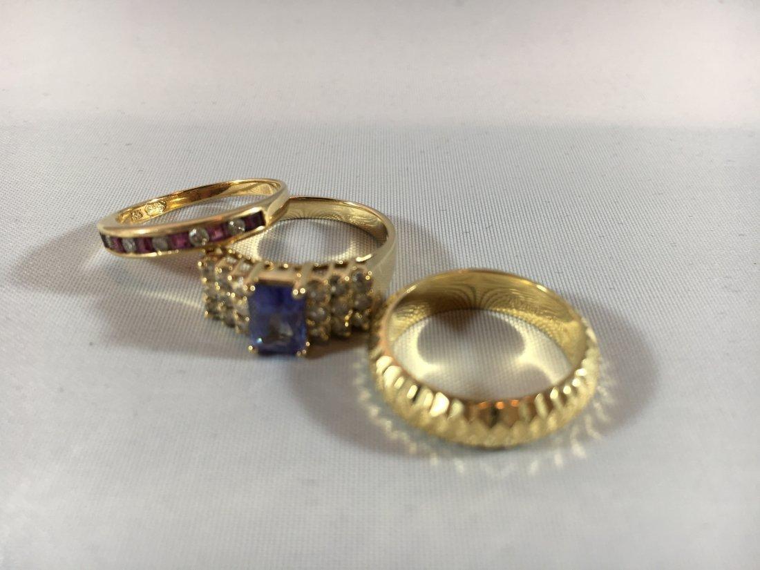 3 Ladies Gold Rings: Sapphire, Ruby, 14K - 3