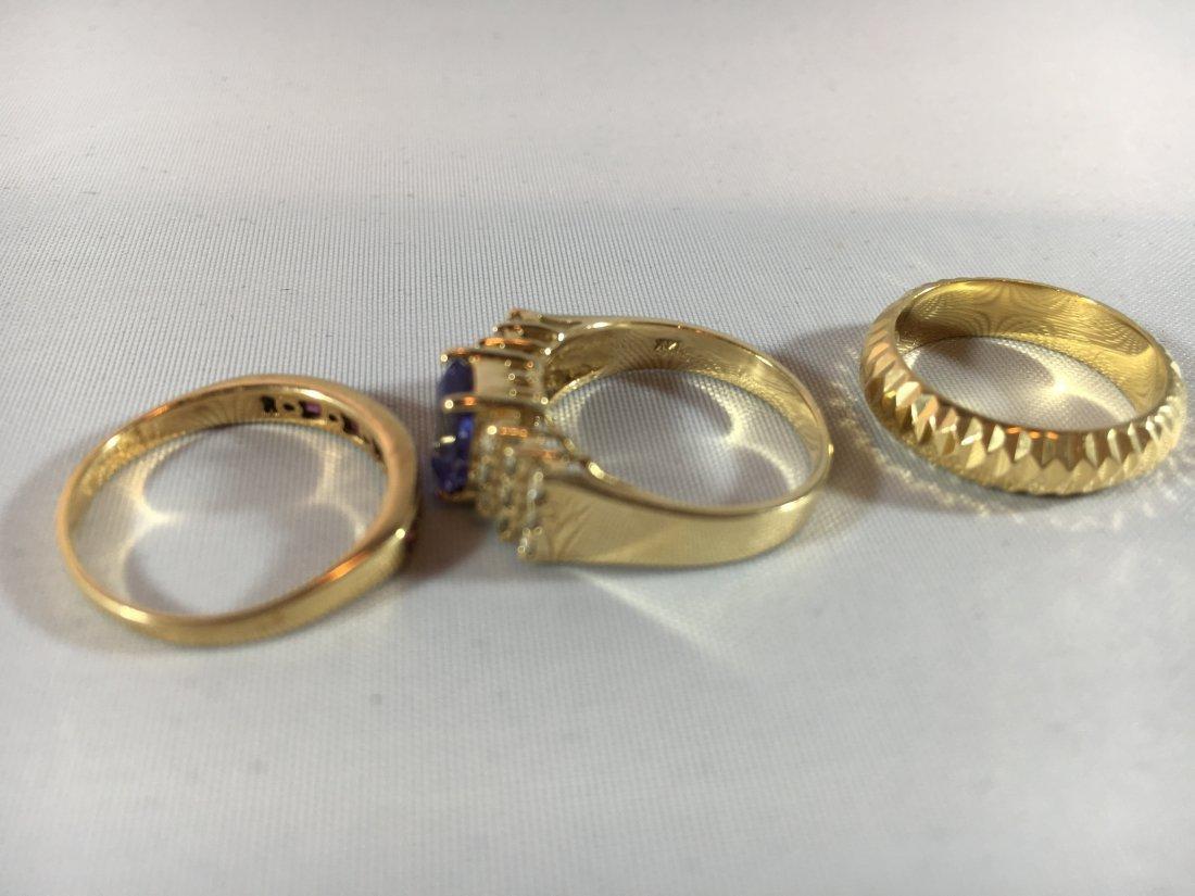 3 Ladies Gold Rings: Sapphire, Ruby, 14K - 4