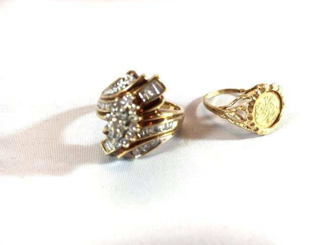 2 Ladies 10K Gold Rings Diamond Pavé