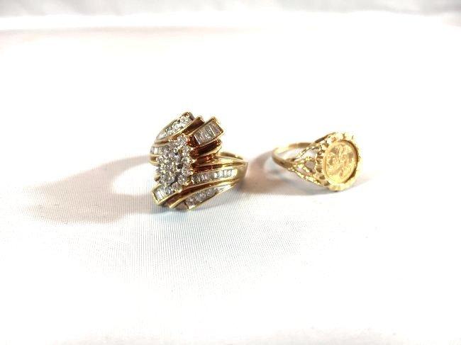 2 Ladies 10K Gold Rings Diamond Pavé - 2