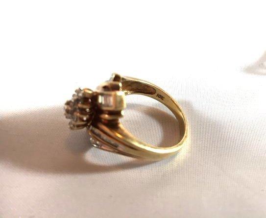 2 Ladies 10K Gold Rings Diamond Pavé - 6