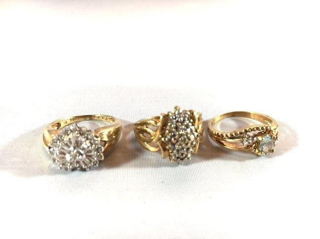 3 Charming Ladies Gold Rings Diamond & Aquamarine