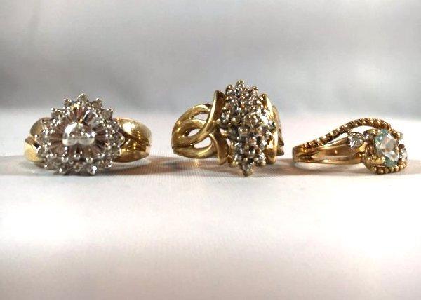 3 Charming Ladies Gold Rings Diamond & Aquamarine - 2