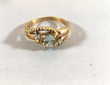 3 Charming Ladies Gold Rings Diamond & Aquamarine - 3
