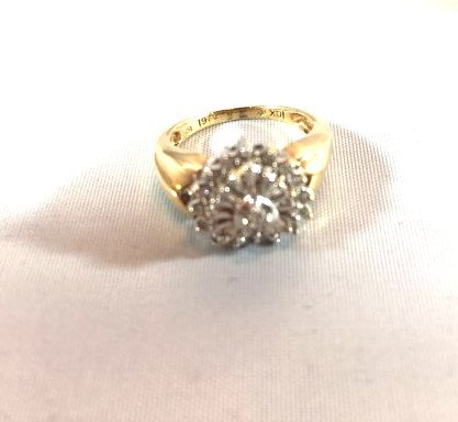 3 Charming Ladies Gold Rings Diamond & Aquamarine - 4