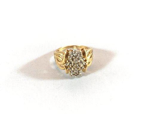 3 Charming Ladies Gold Rings Diamond & Aquamarine - 5