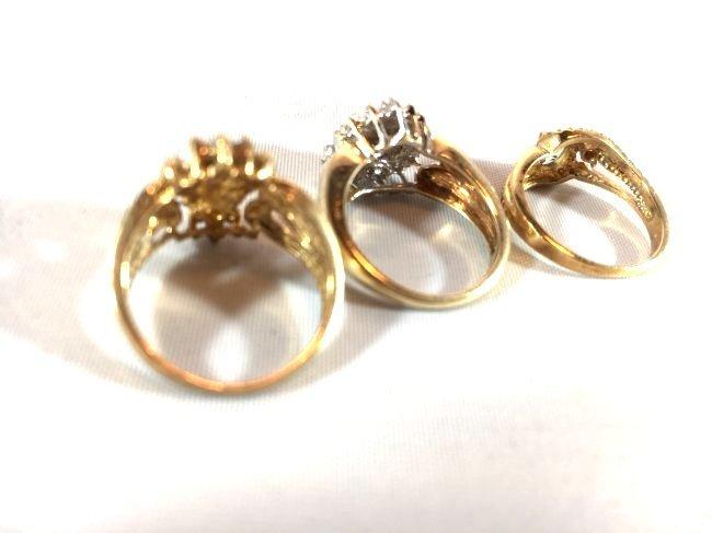 3 Charming Ladies Gold Rings Diamond & Aquamarine - 6