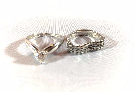 2 Darling 14K White Gold Ladies Rings (sz 5-6)
