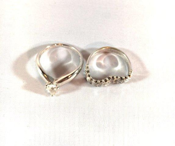 2 Darling 14K White Gold Ladies Rings (sz 5-6) - 2