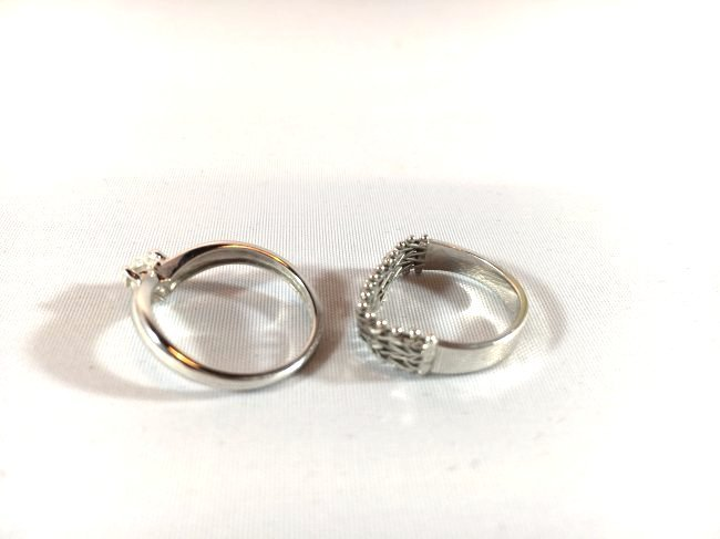 2 Darling 14K White Gold Ladies Rings (sz 5-6) - 3