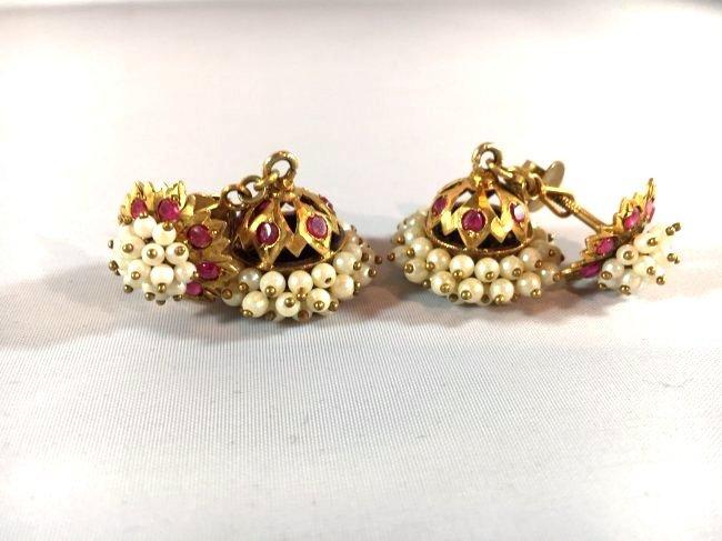 Victorian Era Crown Dangle Seed Pearl & Ruby Earrings - 2