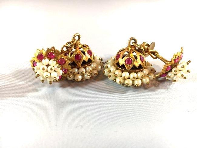 Victorian Era Crown Dangle Seed Pearl & Ruby Earrings - 3