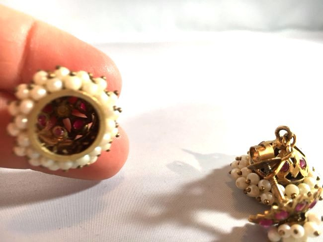 Victorian Era Crown Dangle Seed Pearl & Ruby Earrings - 4