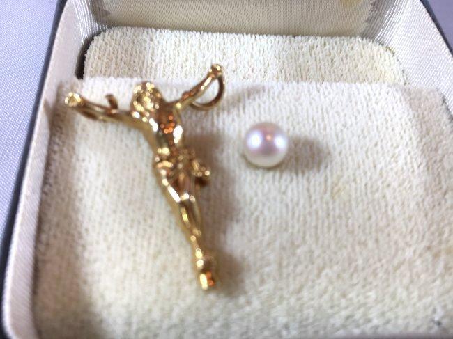 Cultured Pearl & 14K Gold Jesus on Cross pendant charm