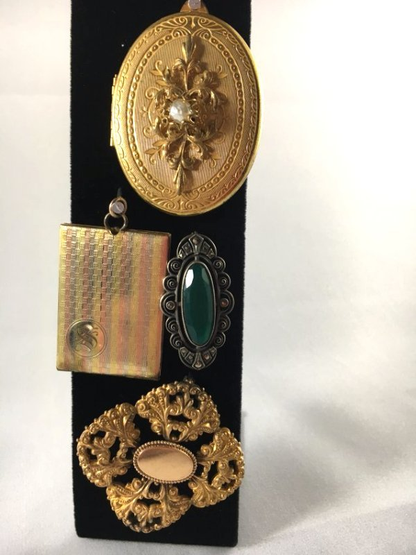 Lot of 4 Gold & Sterling Brooches and Pins