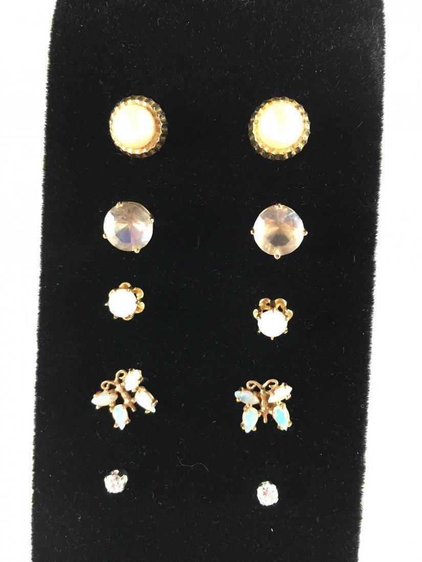 5 Pair Gold, Pearl & Diamond Stud Earrings