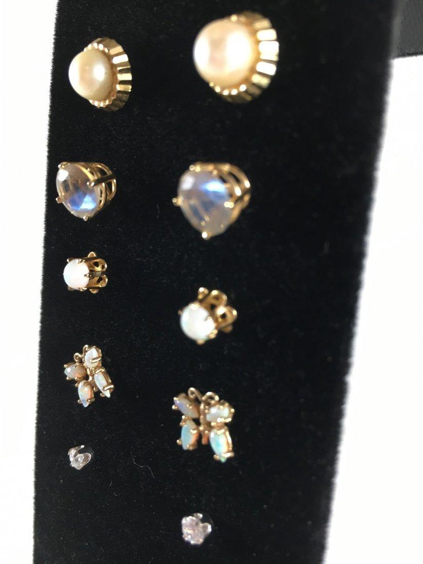 5 Pair Gold, Pearl & Diamond Stud Earrings - 2