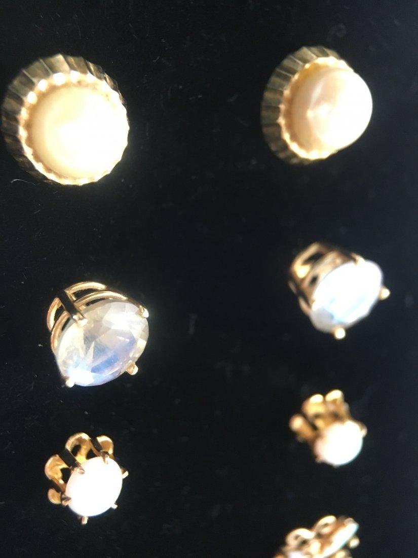 5 Pair Gold, Pearl & Diamond Stud Earrings - 3
