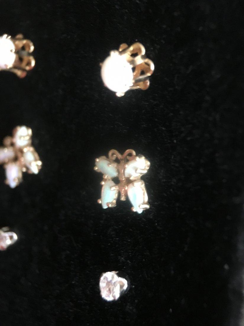 5 Pair Gold, Pearl & Diamond Stud Earrings - 4