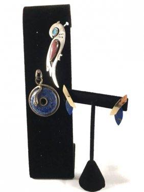 Sterling Silver & Lapis Lazuli Pendant Pin Earrings
