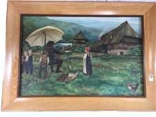 Original oil painting of artist on farm 1938 M. Endriss